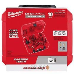Milwaukee Big Hawg Carbide Hole Saw Kit 10 Piece Heavy Duty Multi Material Bit