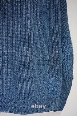 Nouveau $790 Rrl Indigo Navy Patch Work Heavy Cotton Shawl Cardigan Réparé