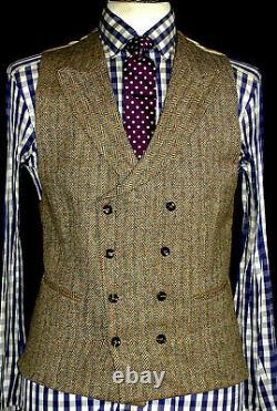 Nouveaux Hommes Walker Slater Poids Lourd Tan Brown Tweed 3 Pièce Costume 38r W32 X L32