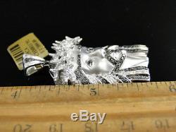 Or Blanc 10k 1,65 Pouces Diamant Jésus Visage Piece Heavy Head Charm Pendentif