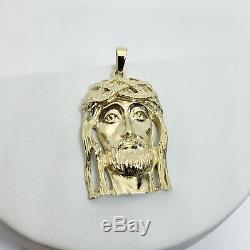 Or Jaune 10k Solide Lourd Jésus Piece Visage Pendentif, 12,7 Grammes, 2 À Long