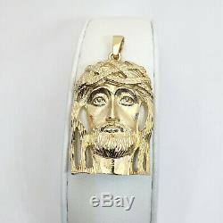 Or Jaune 18 Carats Solide Lourd Jésus Piece Visage Pendentif, 16,1 Grammes, 2 À Long