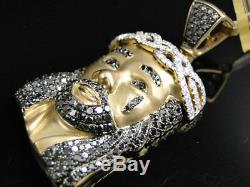 Or Jaune Fini 2 Pouces Diamant Jésus Visage Piece Heavy Head Charm Pendentif