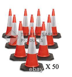 Pack Of 50 Heavy Duty Elite U.k Traffic Cones (2 Piece 1000 Mm)