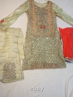 Pakistan 3 Indian Piece Boutique Made Mariée Petit Salwar Kameez Très Lourd
