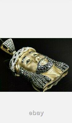 Pendentif Tête Lourde Charm Rond-cut Diamant Or Jaune 14k Sur La Pièce Du Visage De Jésus