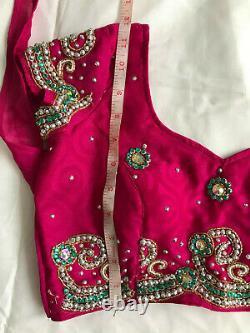 Pink&green Lourd Embriodé 3 Pièces Prêt Fait Lengha Sari Taille 8-10