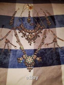 Plaqué Or Lourd Bridal Indian Green Pakistan Bijoux 8 Piece Full Set