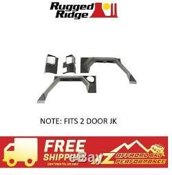 Robuste Ridge Xhd Armure Set Garde-boue Arrière Pour 07-18 Jeep Wrangler Jk 2 Black Door