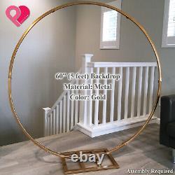 Round Cercle Arche De Mariage Toile De Fond Or Argent Couronne Bague Centerpiece 24-84