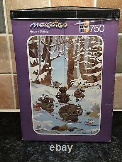 Scellé! Vintage 1989 Heye Heavy Skiing Mordillo 750 Pièces Jigsaw & Poster Rare