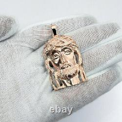 Solide 10k Rose Gold Heavy Jesus Piece Gold Jesus Pendant 12.4g 2