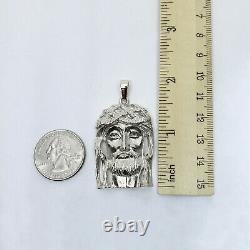 Solide 10k White Gold Heavy Jesus Piece Or Jesus Pendentif 12.4g 2