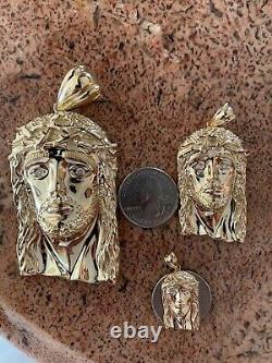 Solide 10k Yellow Gold Vs Natural Diamond Jesus Piece Pendentif Made In Italy Heavy