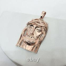 Solide 14k Rose Gold Heavy Jesus Piece Gold Jesus Pendant 13.7g 2