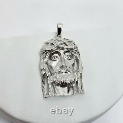 Solide En Or Blanc 14k Lourd Jésus Piece Visage Pendentif, 13,7 Grammes, 2 À Long