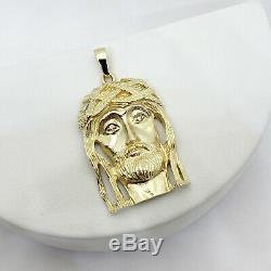 Solide Or Jaune 14k Lourd Gros Diamant Jésus Piece Pendentif Visage 14,0 Grammes 2