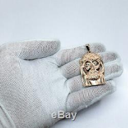 Solide Or Rose 10k Lourd Gros Diamant Jésus Piece Pendentif Visage 12,4 Grammes 2