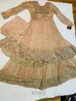 Toute Nouvelle Robe Rose Lehnga, 3 Pièces Sharara Frock Flare Heavy Work Wedding