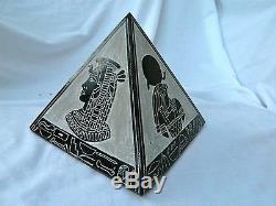 X-large Lourd Égyptien Basalte Pyramide Pierre Set Pharaon Horus Isis 3 Piece # 11