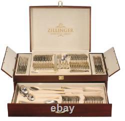 Zillinger Medusa Grec Heavy 72 Pièces Couverts En Or Set De Cantine En Acier Inoxydable